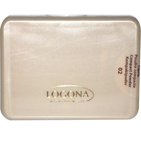 Logona Naturkosmetik, Compact Powder, Medium Beige 02, 0.35 fl oz (10 g) (Discontinued Item)