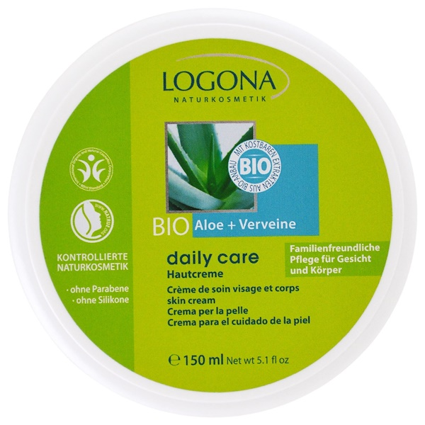 Logona Naturkosmetik, Daily Care, Skin Cream, Aloe & Verveine, 5.1 oz (150 ml) (Discontinued Item)