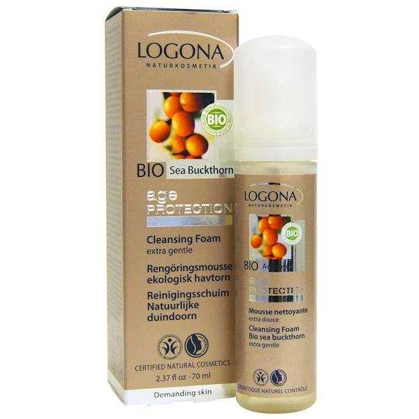 Logona Naturkosmetik, エイジプロテクション、 クレンジングフォーム、 バイオ・シーバックソーン、 2.37 液量オンス (70 ml) (Discontinued Item)