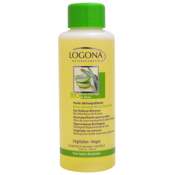 Logona Naturkosmetik, アイメイクアップリムーバー、 バイオ・ワイルドローズオイル&アロエ、 3.4 液量オンス (100 ml) (Discontinued Item)