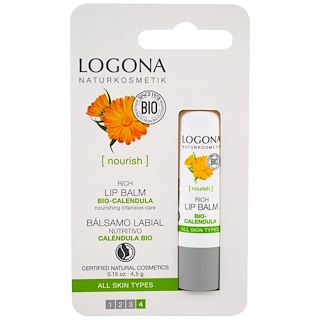 Logona Naturkosmetik, Rich Bio-Calendula Lip Balm, 0.15 fl oz (4.5 g)
