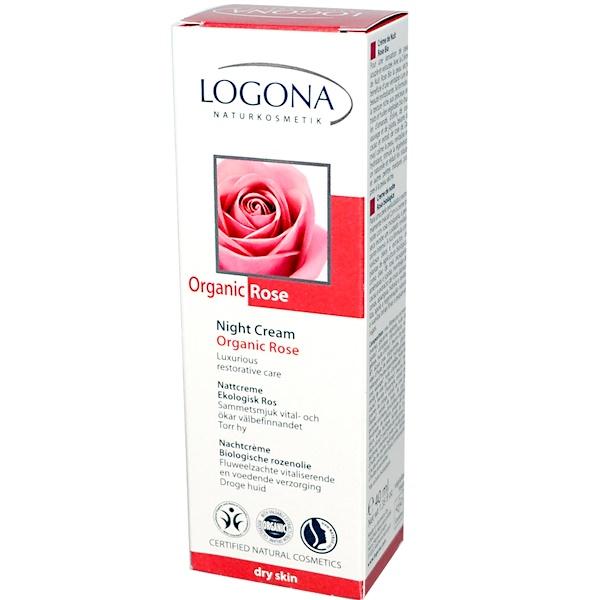 Logona Naturkosmetik, Night Cream, Organic Rose, 1.35 fl oz (40 ml) (Discontinued Item)