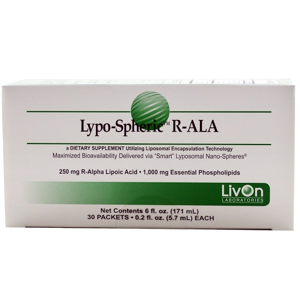LivOn Laboratories, Lypo-Spheric R-ALA, 30 Packets, 0.2 fl oz (5.7 ml) Each (Discontinued Item)