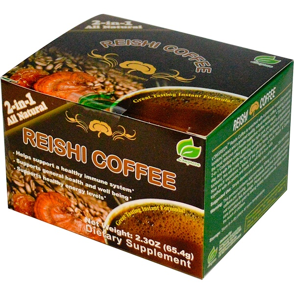 Longreen Corporation, Reishi Coffee, Reishi Mushroom & Columbian Coffee, 30 Sachets, 0.077 oz (2.18 g) Each (Discontinued Item)