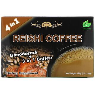 Longreen, 4 in 1 Reishi Coffee, 10 саше, каждое весом 18 г