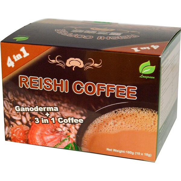 Longreen, 4 in 1 Reishi Coffee, 10 Sachets, (18 g) Each