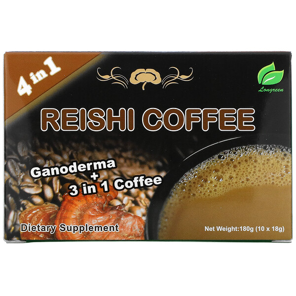 4 in 1 Reishi Coffee, 10 Sachets, (18 g) Each
