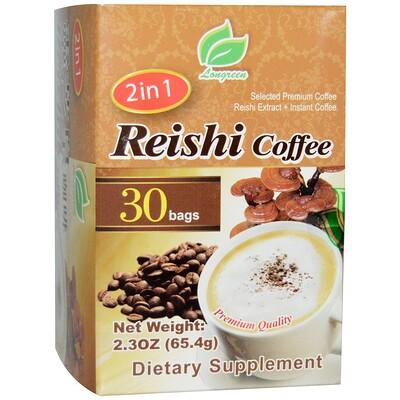 Longreen 2 in 1 Reishi Coffee, гриб рейши и кофе, 30 пакетиков, весом 65,4 г (2,3 унции) каждый