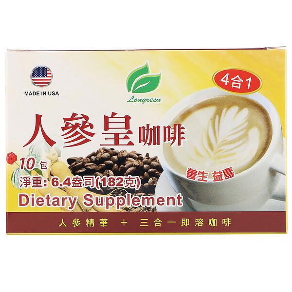 Longreen, 4 in 1 Ginseng Coffee, 10 Sachets, 6.4 oz (182 g)