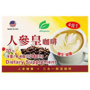 Лонгрин корпоратион, 4 in 1 Ginseng Coffee, 10 Sachets, 6.4 oz (182 g) отзывы покупателей