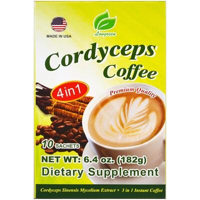 Cordyceps Coffee, 4 в 1, кофе с кордицепсом, 10 пакетиков, 182 г (6,4 унции)