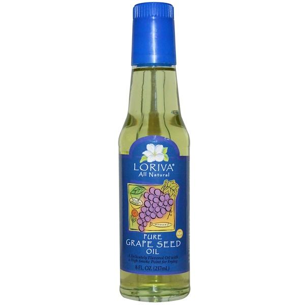 Loriva, Pure Grape Seed Oil, 8 fl oz (237 ml)