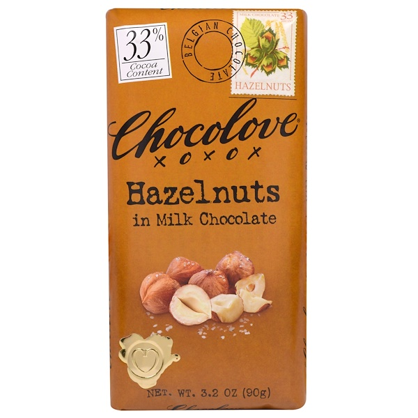 Chocolove, Hazelnuts in Milk Chocolate, 3.2 oz (90 g)
