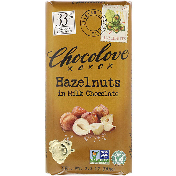 Chocolove, Hazelnuts in Milk Chocolate, 33% Cocoa, 3.2 oz (90 g)