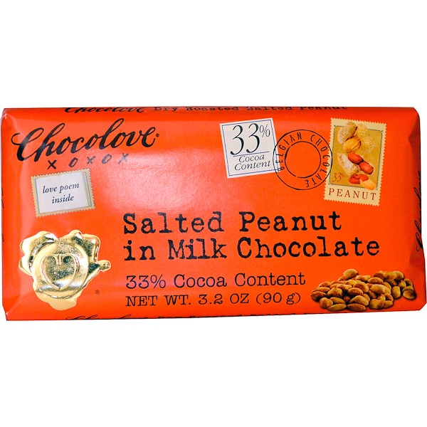 Chocolove, Salted Peanut in Milk Chocolate, 3.2 oz (90 g) (Discontinued Item)