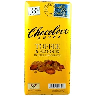 Chocolove, Toffee & Almonds in Milk Chocolate, 3.2 oz (90 g)