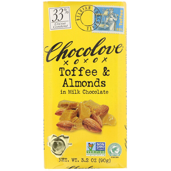 Toffee & Almonds in Milk Chocolate, 33% Cocoa, 3.2 oz (90 g)