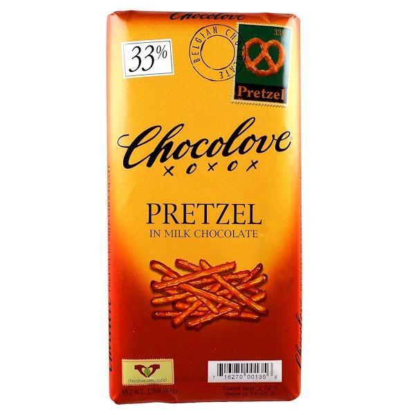 Chocolove, Pretzel in Milk Chocolate, 2.9 oz (83 g)