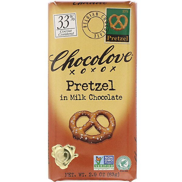 Chocolove, Pretzel in Milk Chocolate, 30% Cocoa, 2.9 oz (83 g)