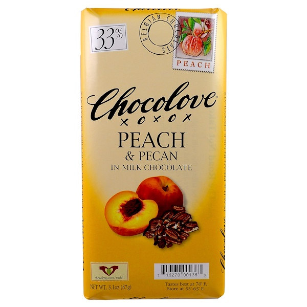 Chocolove, Peach & Pecan in Milk Chocolate, 3.1 oz (87 g) (Discontinued Item)