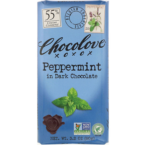Chocolove, Peppermint in Dark Chocolate, 3.2 oz (90 g)