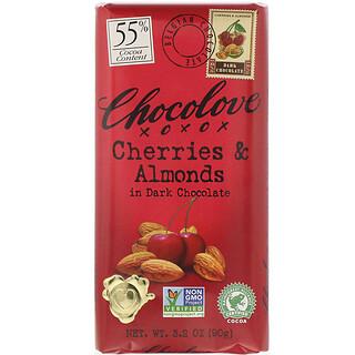 Chocolove, 체리 & 아몬드 인 다크 초콜릿, 코코아 55%, 90g(3.2oz)