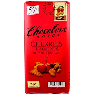 Chocolove, Cherries & Almonds in Dark Chocolate, 3.2 oz (90 g)