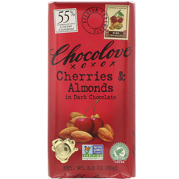 Chocolove, Cherries & Almonds in Dark Chocolate, 55% Cocoa, 3.2 oz (90 g)