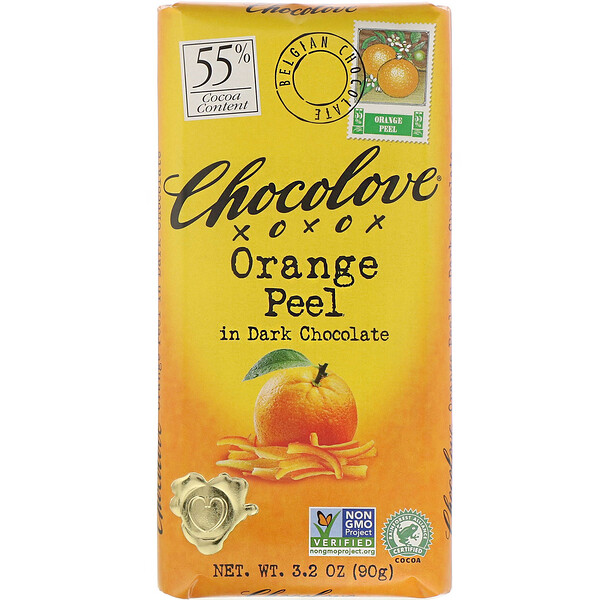 Chocolove, Orange Peel in Dark Chocolate, 55% Cocoa, 3.2 oz (90 g)