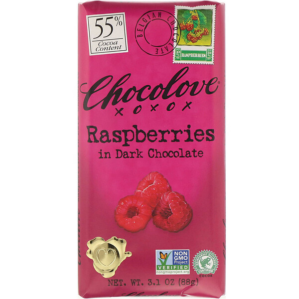 Raspberries in Dark Chocolate, 55% Cocoa, 3.1 oz (88 g)
