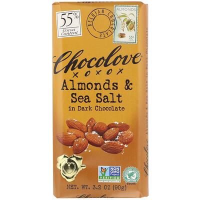 Темный шоколад с миндалем и морской солью, 3,2 унции (90 г) maestro de oliva оливки с миндалем 300 г