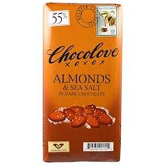 Chocolove, アーモンド & シーソルト イン ダークチョコレート, 3.2 oz (90 g)