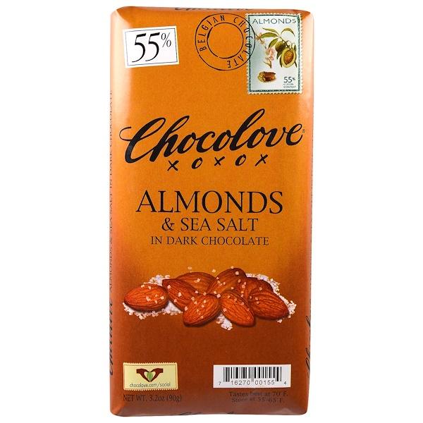Chocolove,  الشوكولاتة سوداء باللوز وملح البحر، 3.2 أونصة (90 جرام)