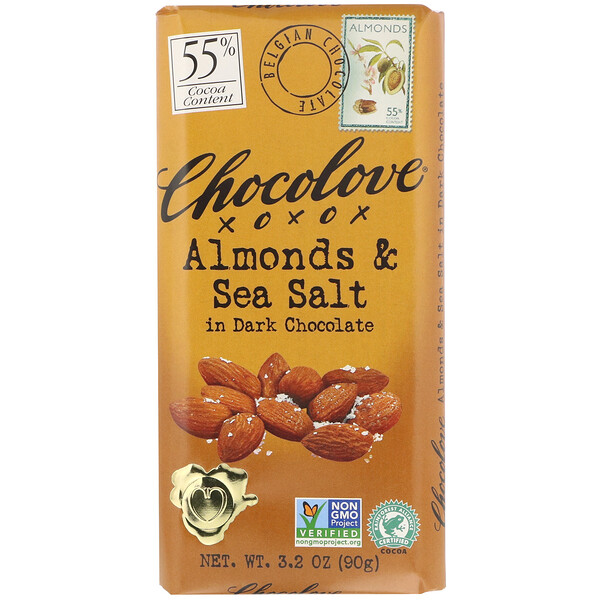 Chocolove, Almonds & Sea Salt in Dark Chocolate, 55% Cocoa, 3.2 oz (90 g)