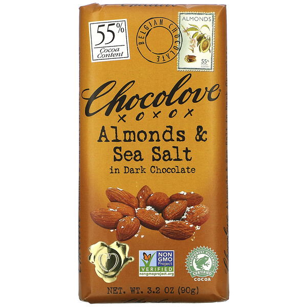 Almonds & Sea Salt in Dark Chocolate, 55% Cocoa, 3.2 oz (90 g)