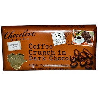 Chocolove, Coffee Crunch in Dark Chocolate, 3.2 oz (90 g)