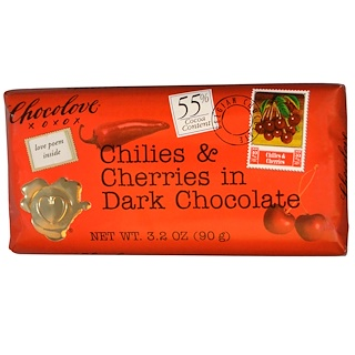 Chocolove, Chilies & Cherries in Dark Chocolate, 3.2 oz (90 g)