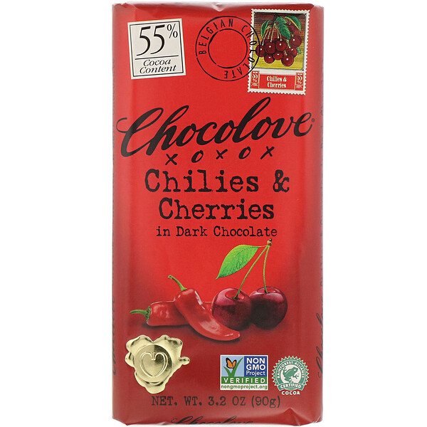 Chocolove, Chilies & Cherries in Dark Chocolate, 55% Cacao, 3.2 oz (90 g)