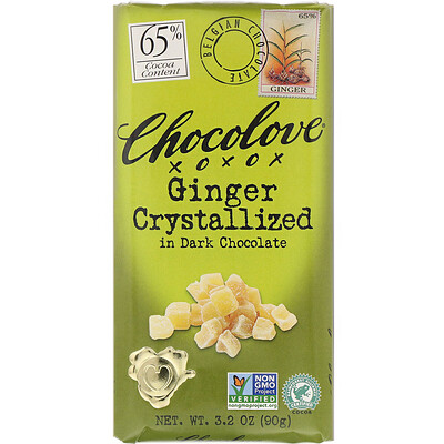 Ginger Crystallized in Dark Chocolate, 65% Cocoa, 3.2 oz (90 g) недорого