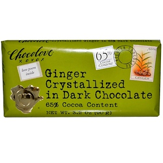 Chocolove, Ginger Crystallized in Dark Chocolate, 3.2 oz (90 g)