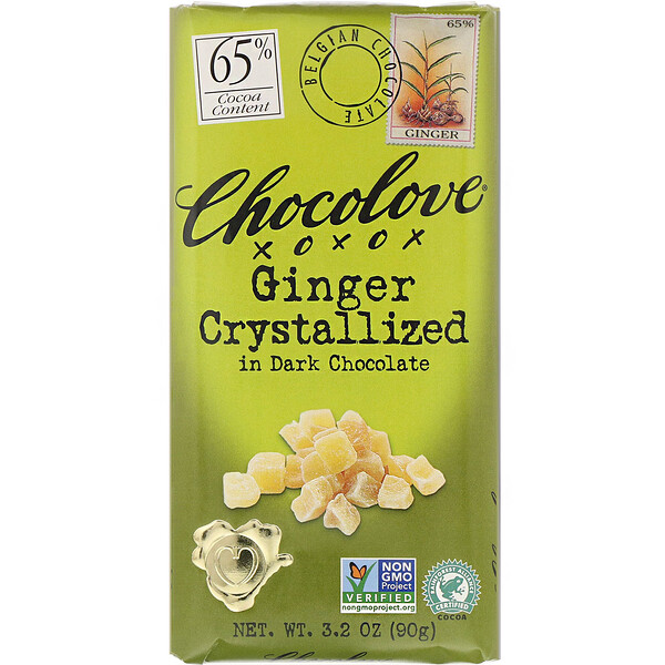 Ginger Crystallized in Dark Chocolate, 65% Cocoa, 3.2 oz (90 g)