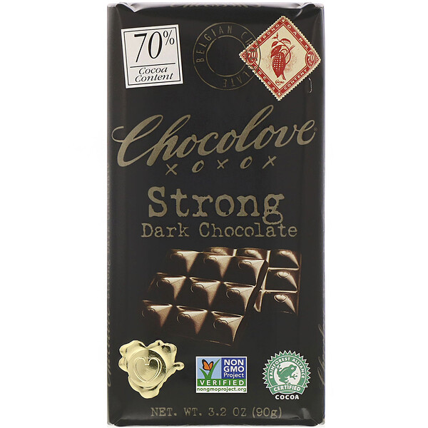 Chocolove, Strong Dark Chocolate, 70% Cocoa, 3.2 oz (90 g)