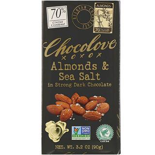 Chocolove, Almonds & Sea Salt in Strong Dark Chocolate, 70% Cocoa, 3.2 oz (90 g)