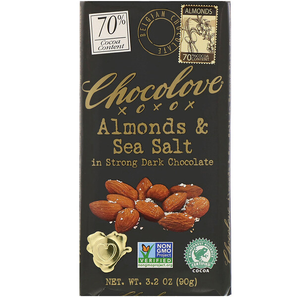 Chocolove, Almonds & Sea Salt in Strong Dark Chocolate, 70% Cocoa, 3.2 oz (90 g)