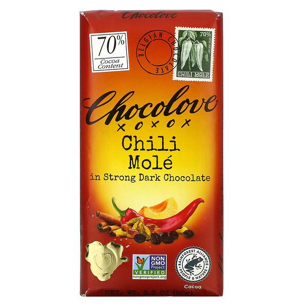 Chocolove, Chili Mole in Strong Dark Chocolate, 70% Cocoa, 3.2 oz (90 g)