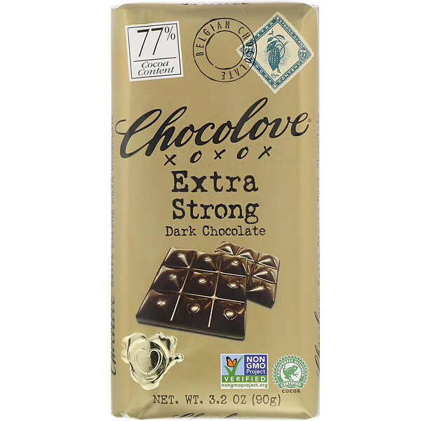 Extra Strong Dark Chocolate, 77 Cocoa, 3.2 oz (90 g)