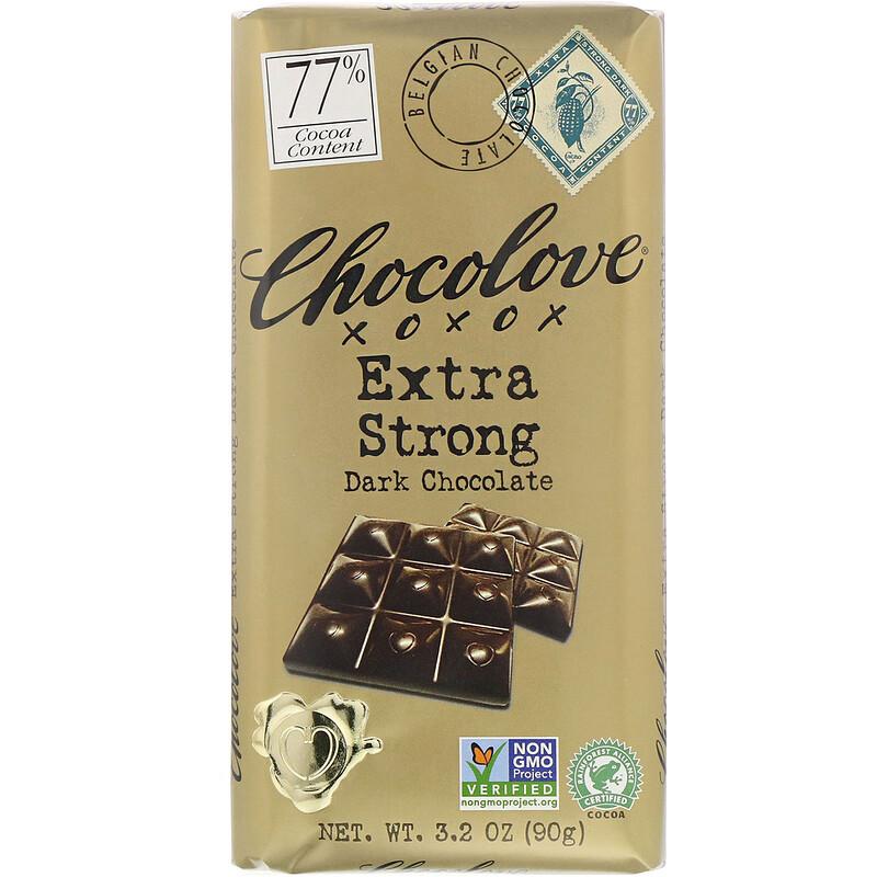 Extra Strong Dark Chocolate, 77 Cocoa, 3.2 oz (90 g)