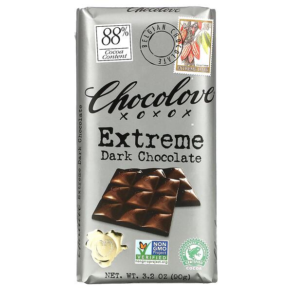 Chocolove, Extreme Dark Chocolate, 88% Cocoa Content, 3.2 oz (90 g)