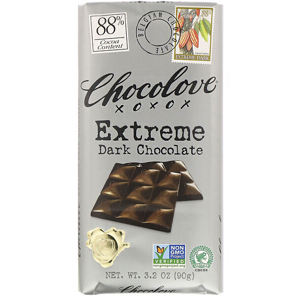 Extreme Dark Chocolate, 88% Cocoa, 3.2 oz (90 g)