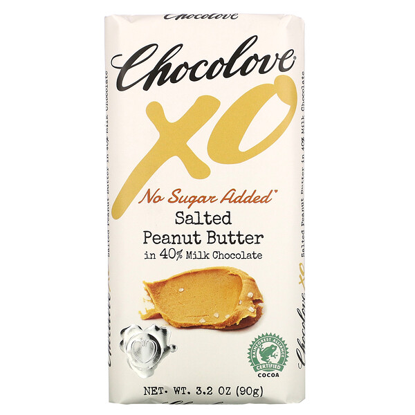 Chocolove, XO, Salted Peanut Butter in 40% Milk Chocolate Bar, 3.2 oz ( 90 g)